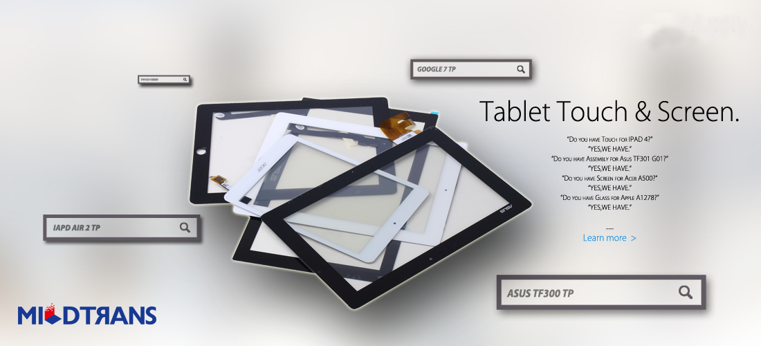 Tablet touch screen supplier