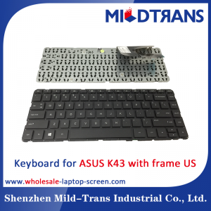 US Laptop Keyboard for ASUS K43 with frame